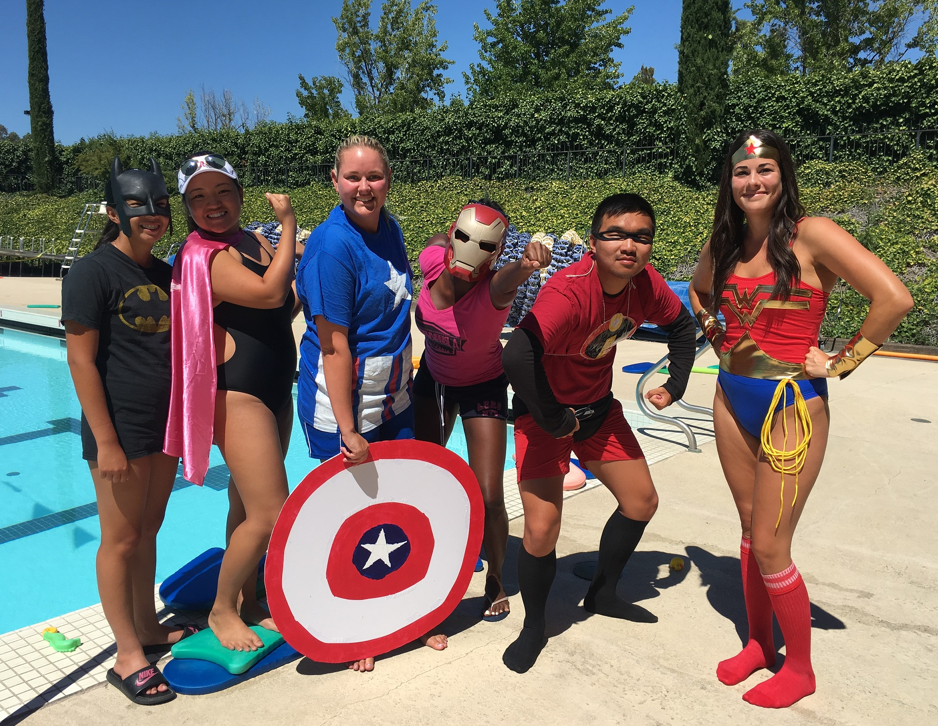 Superheroes at the Pool